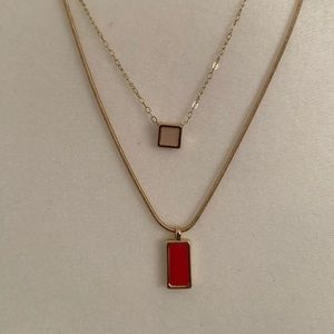 Double layer enamel necklace